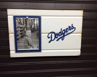 "Los Angeles LA Dodgers picture frame holds 4""x6"" photo, decor"