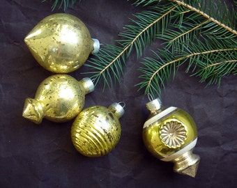 Vintage Glass Christmas Tree Gold Ornaments - Double Indent Ornament - Teardrop Ornament - Fancy Ornaments - set of 4 - made in USA