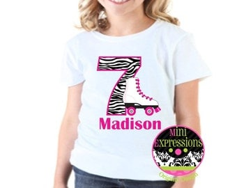 Zebra Roller Skate Birthday shirt Personalized just for you