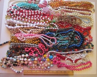 60+ vintage necklaces - vintage beaded necklaces - ready to wear and as is for reuse