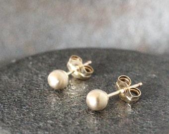 Brushed Gold Earrings - Gold Stud earrings - Matte Simple Soft Sheen ( 4mm ) - small organic handmade sterling silver post earrings