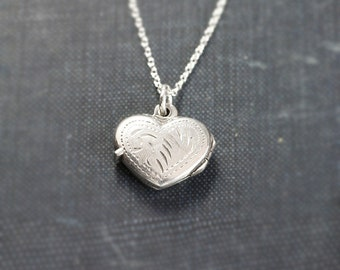 Small Sterling Silver Heart Locket Necklace, Classic Double Side Patterned Photo Pendant - A Little Love