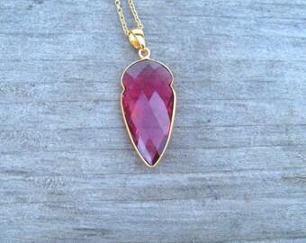 Pink Tourmaline Necklace, Bezel Set In 24 K Gold, Arrowhead Tourmaline Pendant, October Birthstone Jewelry, Long Layering Necklace