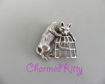 Vintage Sterling Cat Brooch Jalaine Silver Cat and Moving Bird in Cage Pin
