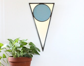 Triangle Circle Pennant Wall Mirror Geometric / Handmade Wall Mirror Blue Stained Glass Circle Flag Nautical Arrow Banner Bunting