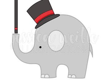 Magic Elephant Cute Digital Clipart, Magic Clip art, Elephant in Top Hat Graphics, Magician, Magic Illustration, #208
