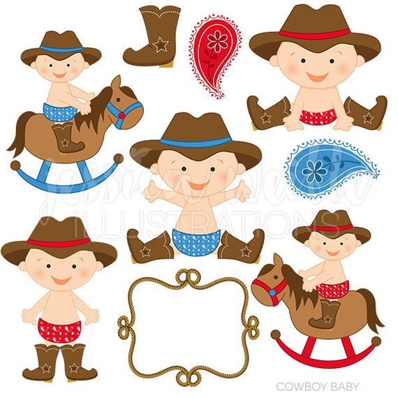 Cowboy Baby Boy Cute Digital Clipart, Cowboy Clip art, Cowboy Graphics, Baby cowboy, western baby, baby in boots, paisley, rope frame