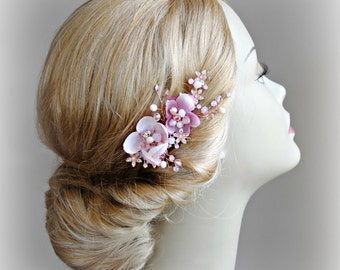 Rose Gold Cherry Blossom Hair Flowers, Pink Bridal Fascinator, Swarovski Crystals - SAKURA