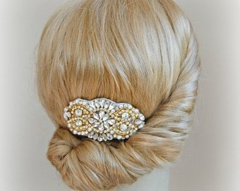 Gold Hair Comb, Crystal  and Pearl Wedding Comb, Rhinestone Bridal Comb, Rose Gold, Silver -  AMELIE COMB