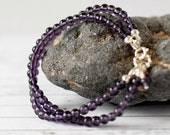 Purple Agate Bracelet Dark Purple Bracelet Bohemian Amethyst Bracelet Purple Stone Bead Quartz Bracelet Double Strand Silver Gift for Women