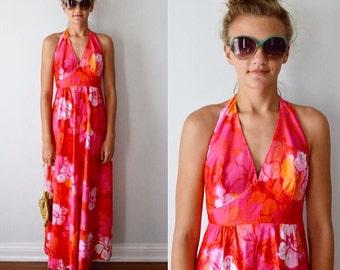 Vintage Halter Dress, Wika of Hawaii Ltd, 1960s Halter Dress, Maxi Dress, Cotton Halter Dress, Summer Dress, Vintage Dress
