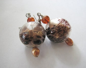 Globe earrings | large round | glass | pearl | rose petals