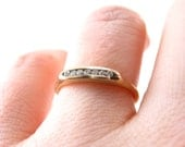 Tiny Channel Set Engagement Ring or Wedding band