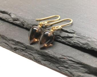 Smoky Quartz Earrings , Tear Drop Earrings , Gray Earrings , Gemstone Drops , Brown Earrings , Dangle Earrings , Gift For Her , Amy FIne