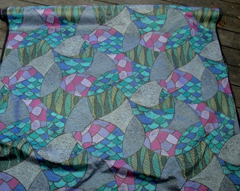 Limited edition vintage 1980's French PERROQUET e'dite' par TACO Raccord saute cotton print abstract fish scales art deco style fabric STE