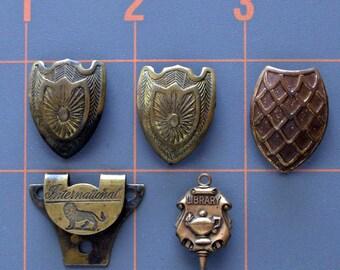 Vintage Shoe Button Covers - Metal Shoe Button Covers - Vintage Brass Library Pin - Brass Shoe Button Covers - Vintage Shoe Accessory Lot