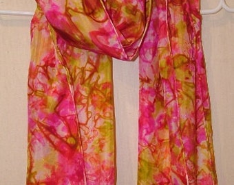 Pink, magenta and lime green summer silk shawl, wrap, scarf