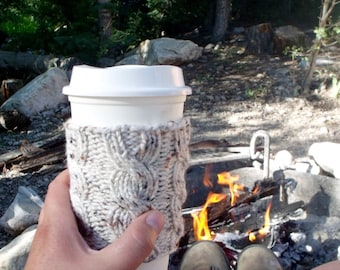Coffee Cup Sleeve, Coffee Mug Cozy - Cable Knit Coffee Cup Cozy in Cream Tweed