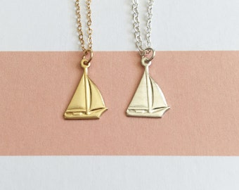 Sailboat Necklace - Boat Necklace - Gold Sailboat - Silver Nautical Necklace - Beach Jewelry - Nautical Jewelry - Sailing - Layering Jewelry