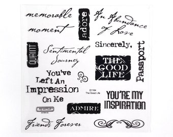 CTMH D1164 The Good Life Close To My Heart words sayings phrases all occasion art journal stamps Clear Stamp Retired Unmounted Stamps USED