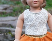 """Lace Cropped Tank Top for 18"""" Doll"""