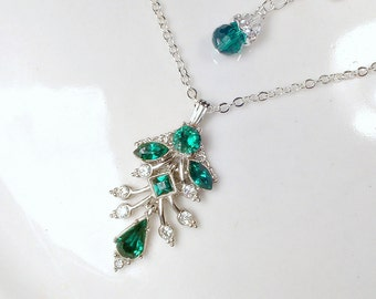 OOAK Art Deco Emerald Green Pave Rhinestone Pendant Necklace, Green Silver Bridal Necklace, Vintage Wedding Gatsby Assemblage Necklace ORA