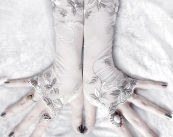 Savanna Long Lace Fingerless Gloves | Pale Ivory & Grey Taupe Embroidered Floral | Wedding Gothic Fetish Bellydance Burlesque Goth Bridal