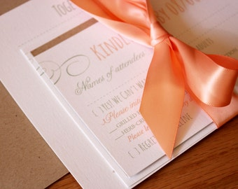 Peach Wedding Invitations, Rustic Chic Invite, Floral Invitations, Mixed Font Invites - Sweet Peach & Mint Invitation Set