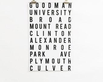 11x17 inch Rochester City Street Print (white & black lettering)