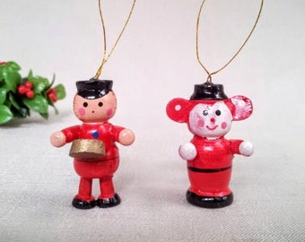 2 Small Vintage Christmas Ornaments, Drummer Boy and Monkey Hand Painted Wood Miniature Doll Figurine Ornaments, Christmas Holiday Décor