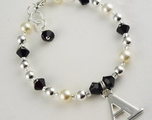 Jet Black & Cream Flower Girl Bracelet with Crystals , pearls, initial charm, sterling silver, wedding jewelry/ baby/ toddler/ bridesmaid