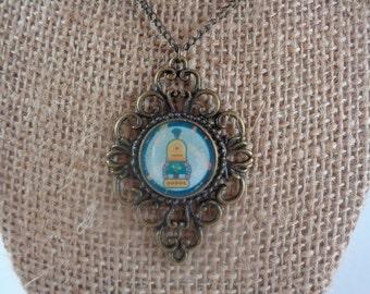 Robot brass filigree necklace
