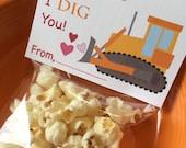 Construction Valentine Bag Topper, Treat Bag Topper, Valentine's Day Card, Instant Printable Valentine