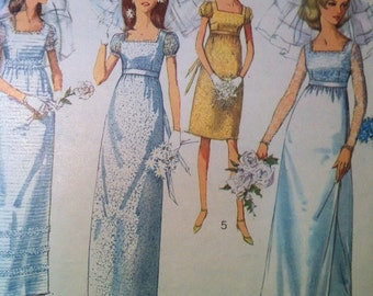 Simplicity 6823 Vintage 1960's Empire Waist Wedding Gown Pattern -1960's Wedding and Bridesmaid Dress Pattern -Square Neck Pattern -Size 14