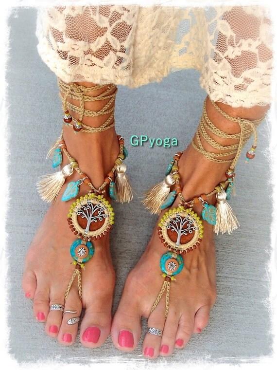 Beaded Yggdrasil Tree Of Life Barefoot Sandals Boho Wedding