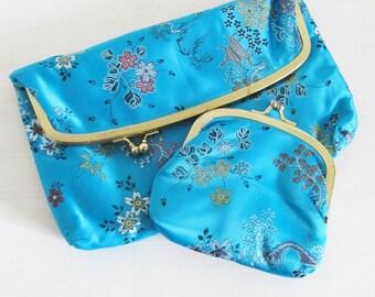 Vintage ASIAN Print Aqua Blue Clutch Purse with Mini Coin Bag / Silky Two-Piece Pouch Set