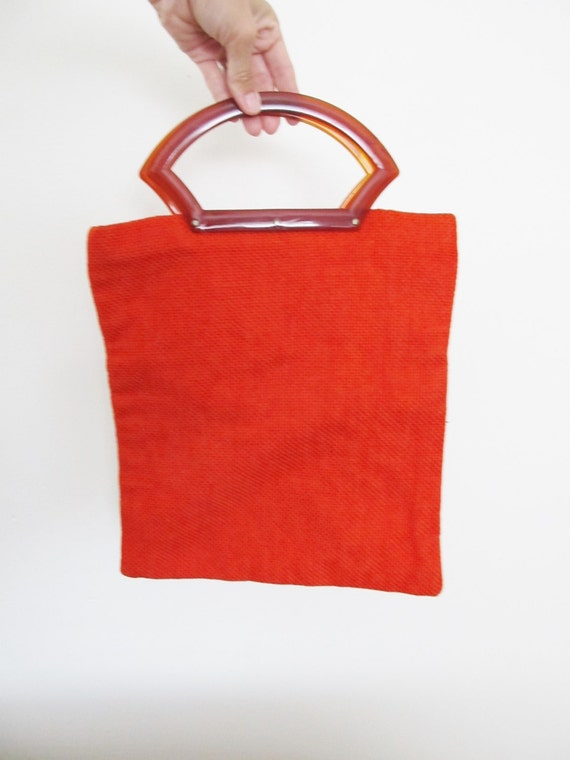 Vintage Red Beach Bag / 1960-70's Lipstick Red Large Tote