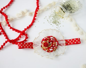 Candy Apple - red gold ivory rosette and tulle rosette headband bow