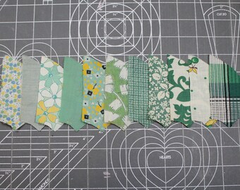 Vintage Yellow/Green Quilt FABRIC 1930 - -Novelty Calico Floral- Gingham- Quilting Pieces - Fan/Pinwheel - 41 Pieces