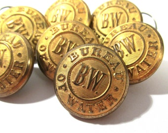 VINTAGE Uniform Buttons Seven (7) Bureau of Water BW Brass Buttons Extra Quality Two Piece Vintage Buttons Costume Jewelry Supplies (G149)