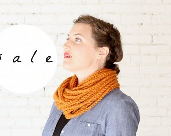 SALE | LAST ONE! | The Skipjack Cowl in Apricot | Chunky Knit Infinity Rope Loop Cowl Scarf