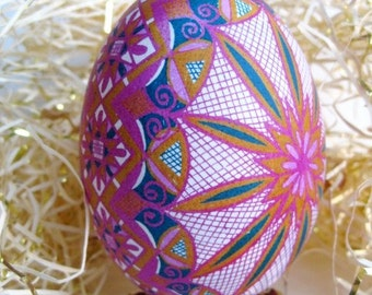 Pink Pysanka Goose egg beautiful keepsake for baby girl baptism gift from Godmother gift for mom from daughter