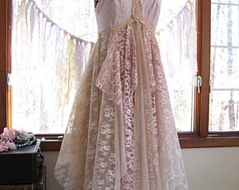 Pink and beige bohemian boho gypsy hippie wedding / prom dress, tea length, Size 10-12, 36-38 inch bust, upcycled vintage by Lily Whitepad