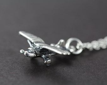 Airplane Necklace - Propeller Cessna Charm 925 Sterling Silver Jewelry