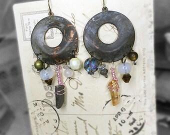 SALE Rustic Chandelier Earrings -  Hoop Connectors & Mismatch Beads - Oxidized Vintage Brass Hoops - Quartz Points, Antique Glass, VIntage