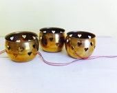 Vintage Brass Pierced Heart Votive Holders, Candle Holders, Set of 3