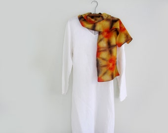 Silk Scarf, Hand-dyed, Shibori in Yellow, Brown and Red-Orange