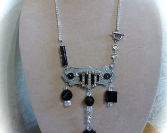 Art Deco Glam Assemblage Necklace, OOAK Clear and Black Rhinestones  with Repurposed Escutcheon