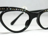 Vintage 50s - 60s Eyeglasses Little Black Cat Eyes with Rhinestones