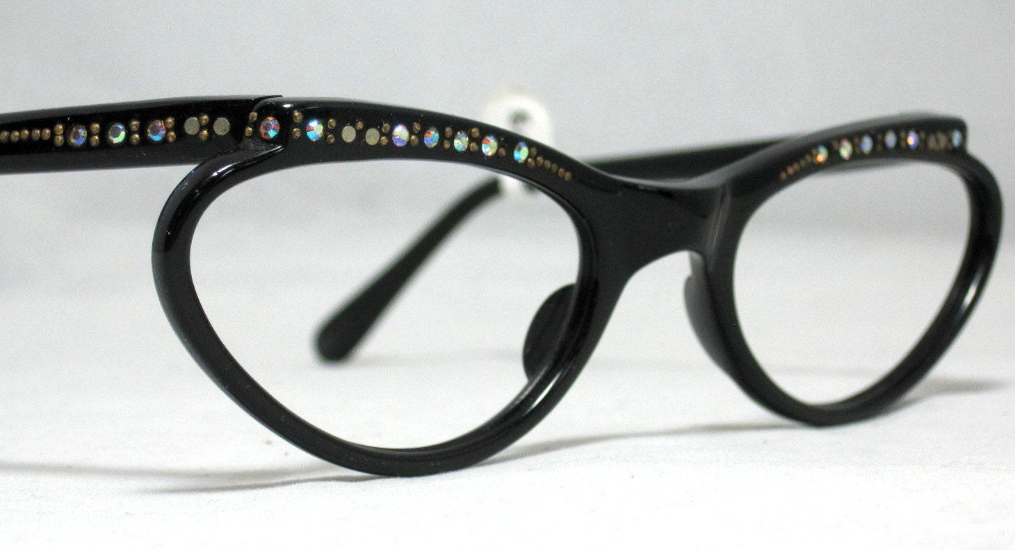 vintage 50s 60s eyeglasses black by